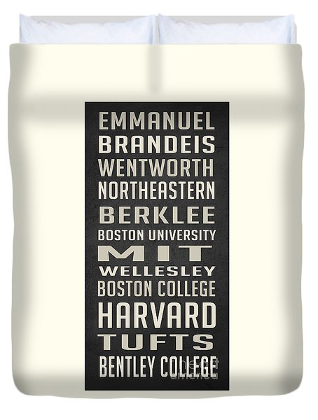 Boston Colleges Poster Duvet Cover by Edward Fielding