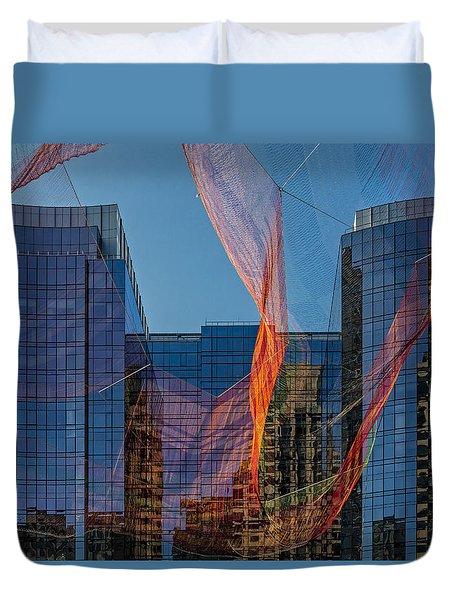 Boston Facade Reflections Duvet Cover