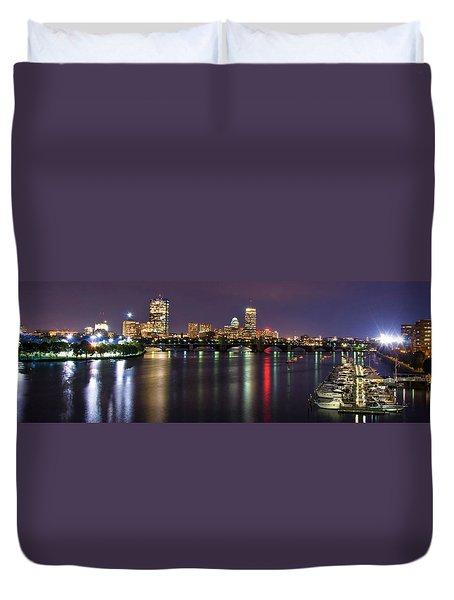 Boston Harbor Nights-panorama Duvet Cover by Joann Vitali