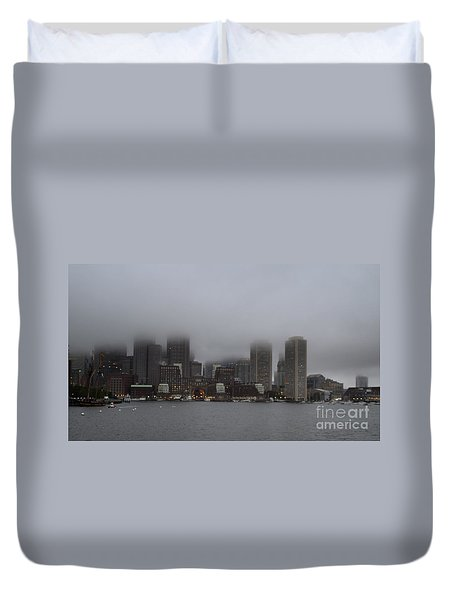Boston In The Fog Duvet Cover
