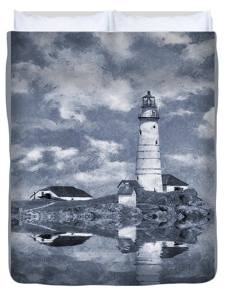 Duvet Cover featuring the photograph Boston Light  by Ian Mitchell