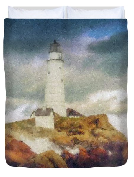 Boston Light On A Stormy Day Duvet Cover