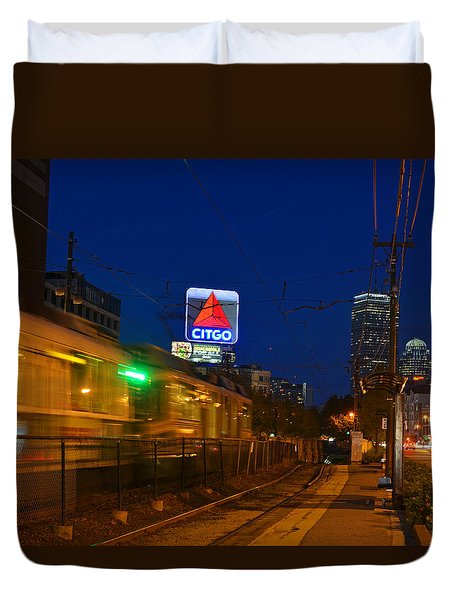 Boston Ma Green Line Train On The Move Duvet Cover