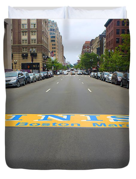 Boston Marathon Finish Line Duvet Cover