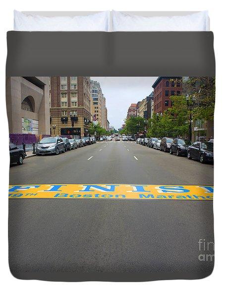 Boston Marathon Finish Line Duvet Cover