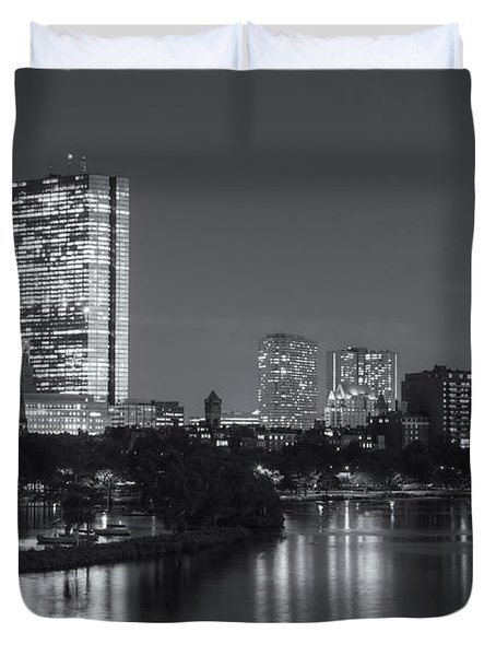 Boston Night Skyline V Duvet Cover