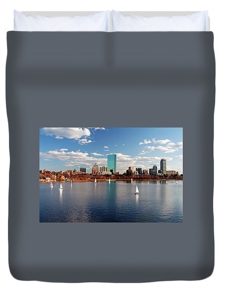 Duvet Cover featuring the photograph Boston On The Charles  by Wayne Marshall Chase