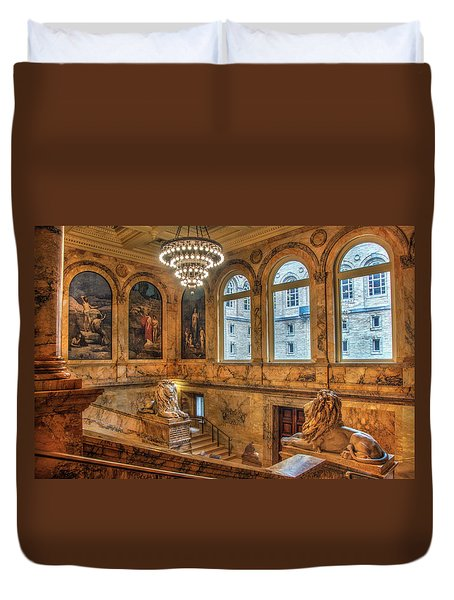 Duvet Cover featuring the photograph Boston Public Library Architecture by Joann Vitali