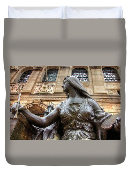 Duvet Cover featuring the photograph Boston Public Library Lady Sculpture by Joann Vitali
