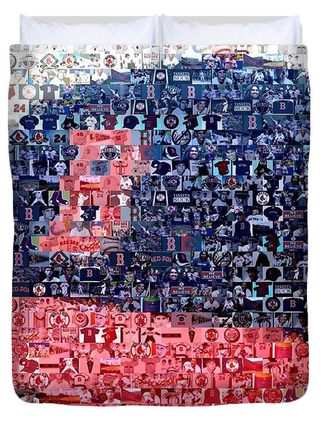 Boston Red Sox Cap Mosaic Duvet Cover by Paul Van Scott