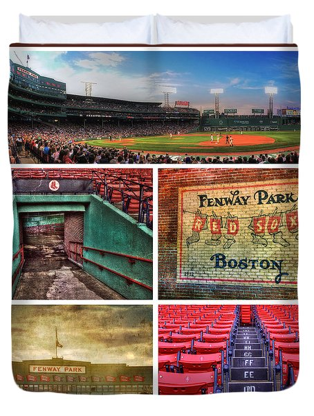 Boston Red Sox Collage - Fenway Park Duvet Cover