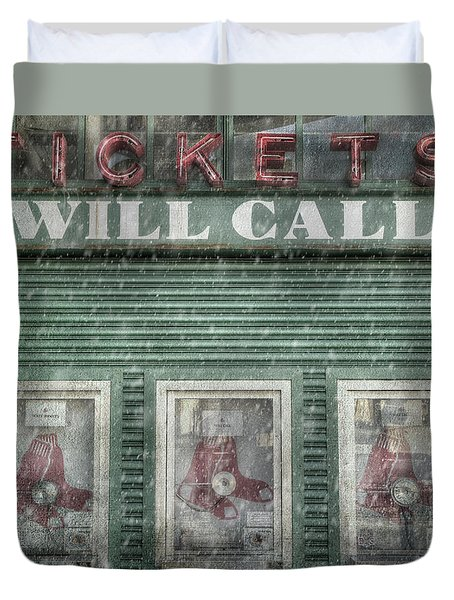 Duvet Cover featuring the photograph Boston Red Sox Fenway Park Ticket Booth In Winter by Joann Vitali