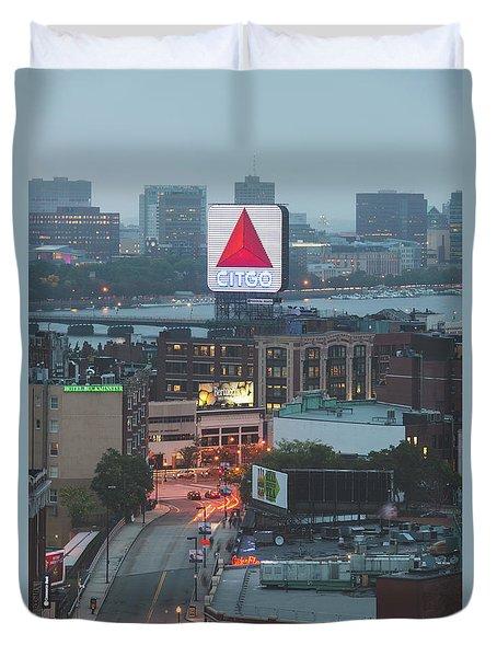 Boston Skyline Aerial Photo With Citgo Sign Duvet Cover
