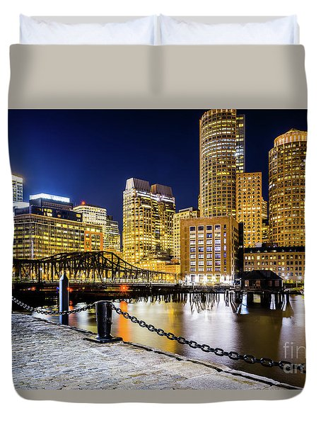 Boston Skyline And Boston Harbor At Night Photo Duvet Cover