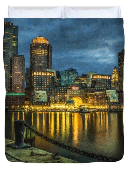 Boston Skyline At Night - Cty828916 Duvet Cover