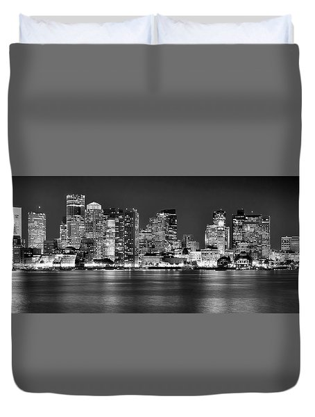Boston Skyline At Night Panorama Black And White Duvet Cover