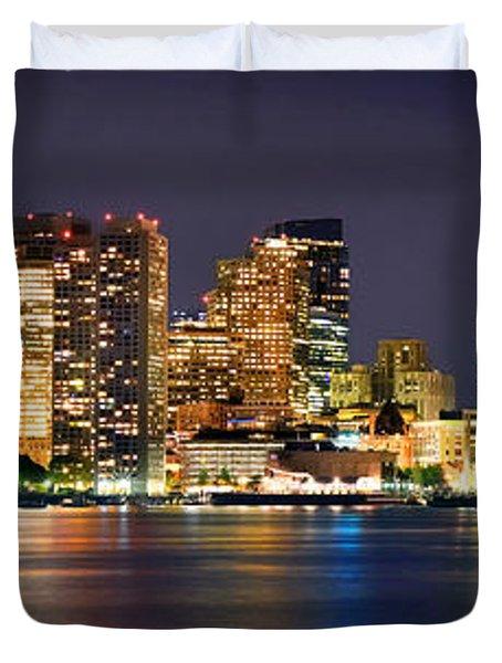 Boston Skyline At Night Panorama Duvet Cover