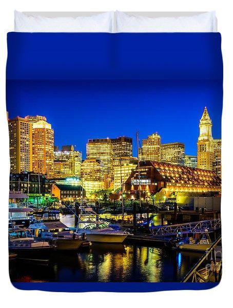 Boston Skyline At Night Duvet Cover
