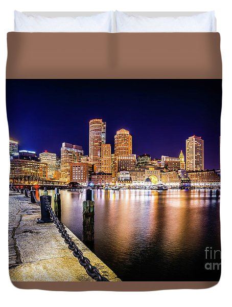 Boston Skyline At Night Picture Duvet Cover