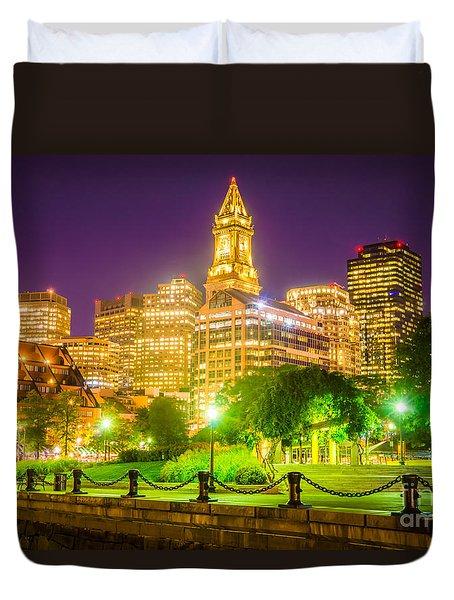 Boston Skyline At Night With Christopher Columbus Park Duvet Cover