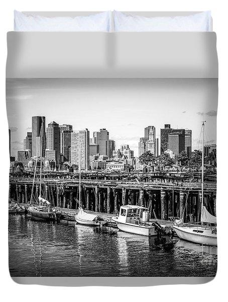 Boston Skyline At Piers Park Black And White Photo Duvet Cover