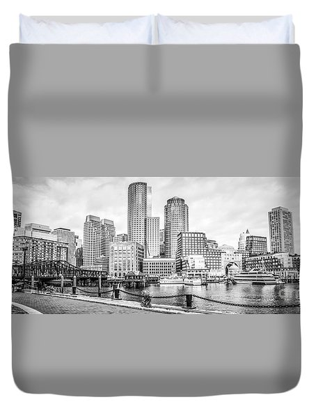 Boston Skyline Black And White Panoramic Picture Duvet Cover