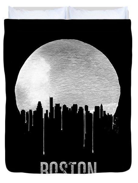 Boston Skyline Black Duvet Cover