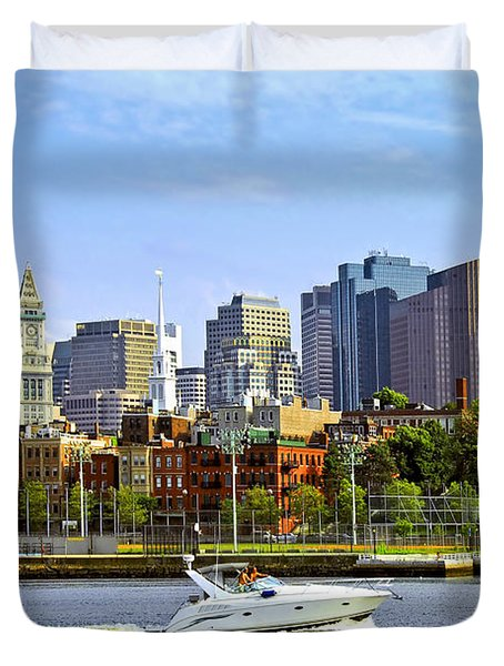Boston Skyline Duvet Cover by Elena Elisseeva