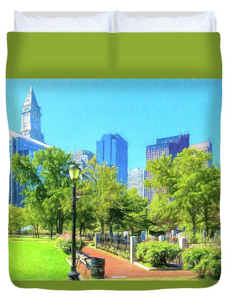 Boston Skyline From Columbus Park Duvet Cover