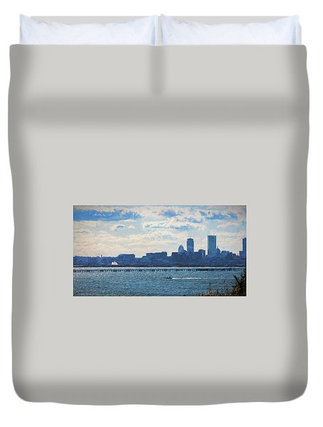 Boston Skyline From Deer Island Duvet Cover