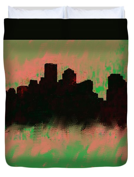 Boston Skyline Green  Duvet Cover by Enki Art