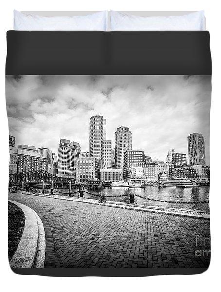Boston Skyline Harborwalk Black And White Picture Duvet Cover