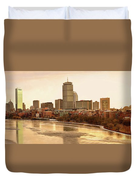 Boston Skyline On A December Morning Duvet Cover by Mitchell R Grosky