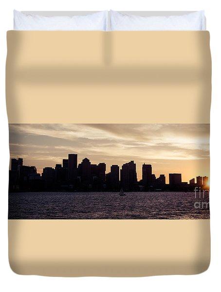 Boston Skyline Panorama Sunset Picture Duvet Cover