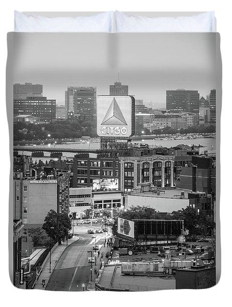 Boston Skyline Photo With The Citgo Sign Duvet Cover