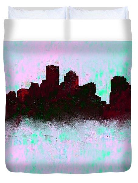 Boston Skyline Sky Blue  Duvet Cover by Enki Art