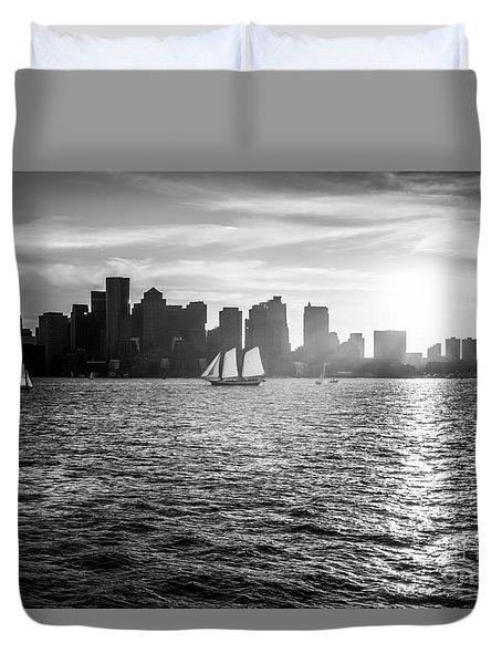 Boston Skyline Sunset Black And White Photo Duvet Cover