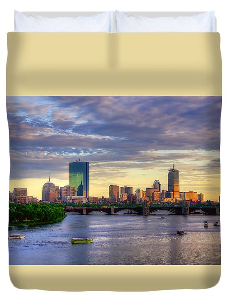 Boston Skyline Sunset Over Back Bay Duvet Cover