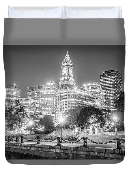 Boston Skyline With Christopher Columbus Park Duvet Cover