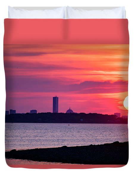Boston Skyline Worlds End Duvet Cover