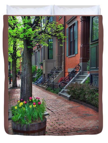 Boston South End Row Houses Duvet Cover by Joann Vitali