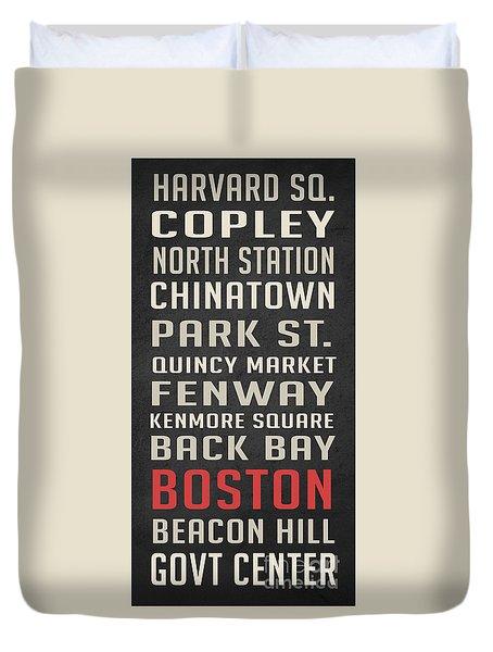 Boston Subway Stops Poster Duvet Cover
