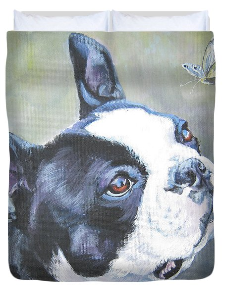 boston Terrier butterfly Duvet Cover