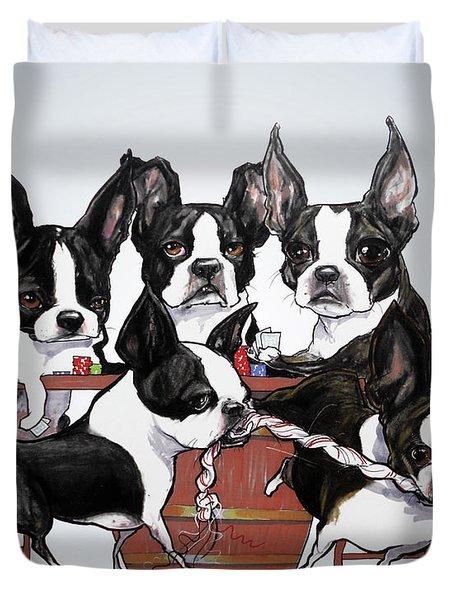 Boston Terrier - Dogs Playing Poker Duvet Cover