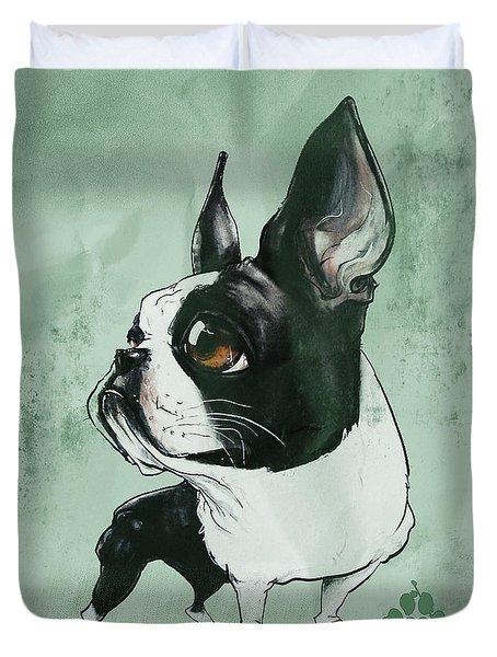 Boston Terrier - Green  Duvet Cover