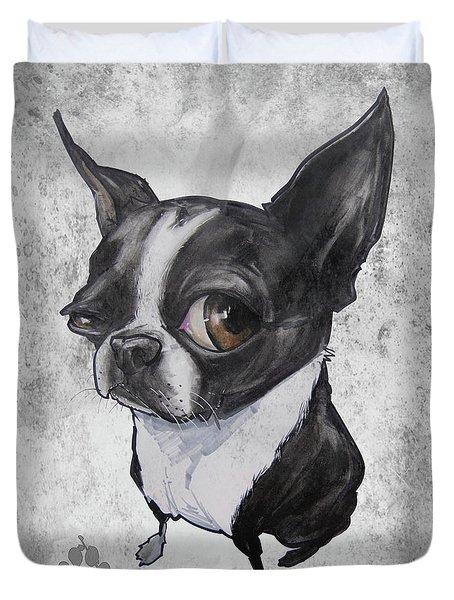 Boston Terrier - Grey Antique Duvet Cover