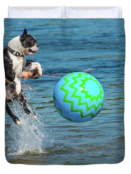 Boston Terrier High Jump Duvet Cover