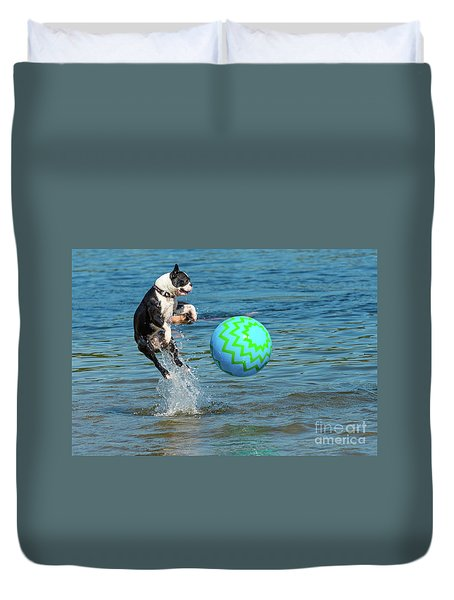 Boston Terrier High Jump Duvet Cover