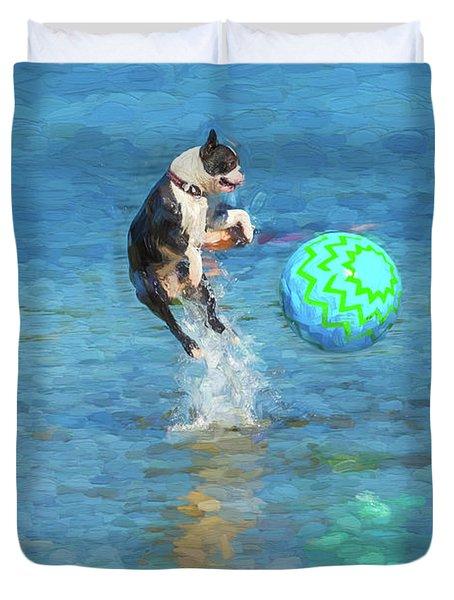 Boston Terrier Jump - Painterly Duvet Cover
