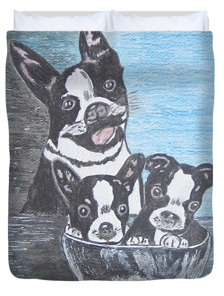 Duvet Cover featuring the painting Boston Terrier Mom And Pups by Kathy Marrs Chandler
